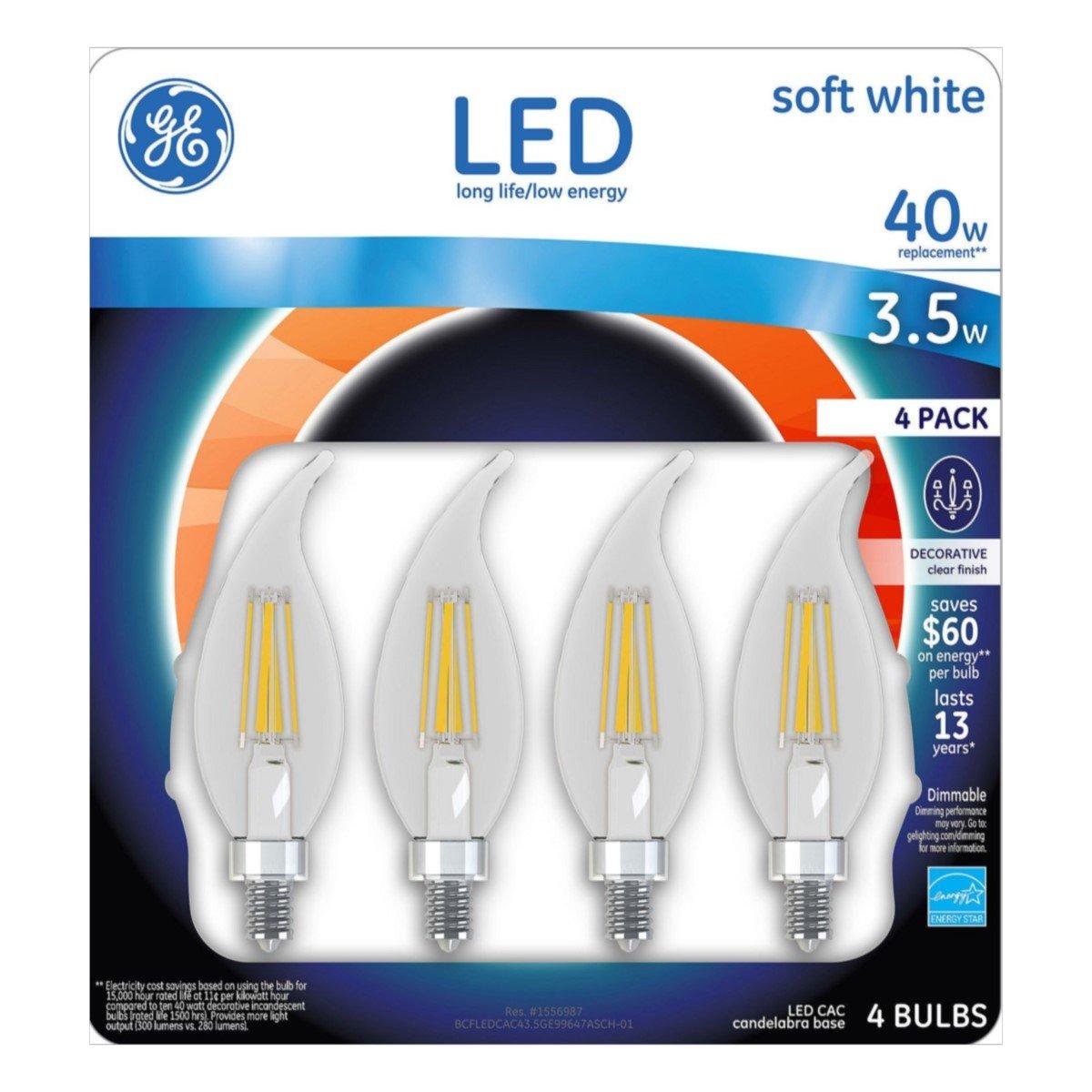 GE Candelabra LED Light Bulb 3.5-Watt Dimmable 2700K Soft White 40-Watt Equivalent 300-Lumens Chandelier Long-Life Low-Energy Decorative Clear Finish 4-Pack
