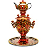 Red Khokhloma Electric Samovar Kettle with Teapot and Tray