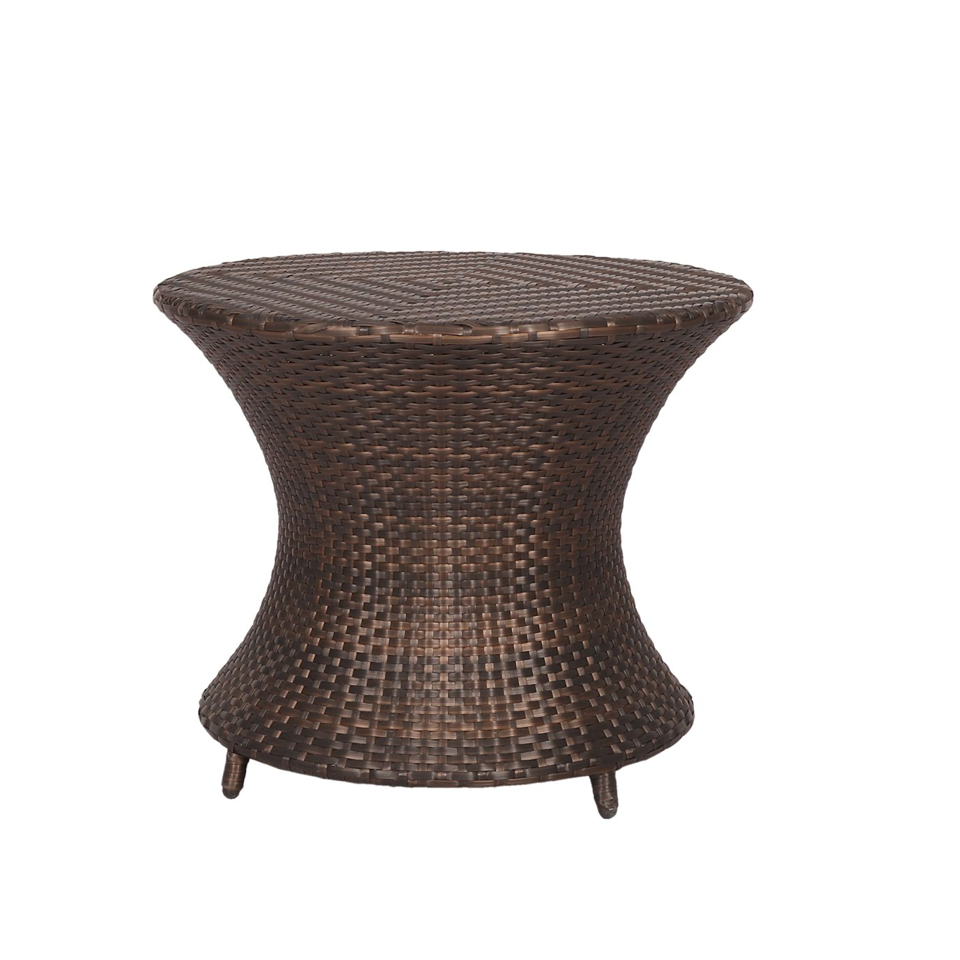 Ulax furniture All Weather Outdoor Patio Brown Wicker Accent Side Table Patio Furniture Garden Backyard Pool