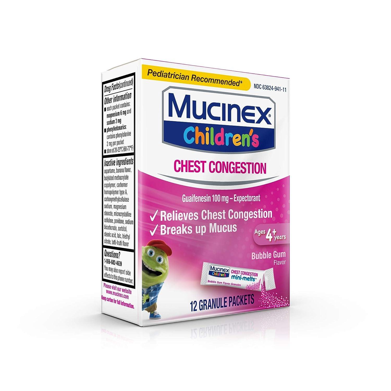 Chest Congestion, Mucinex Children's Mini Melts, Chest Congestion, Bubble  Gum, 24ct (2x12ct)