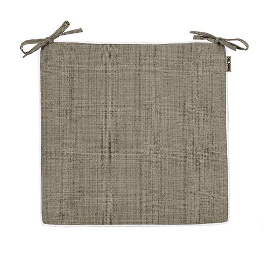 Delindo Lifestyle Cojines para sillas de exterior SAMBA marrón topo, 2 piezas, impermeable, antimanchas, casa y jardin, 40x40 cm