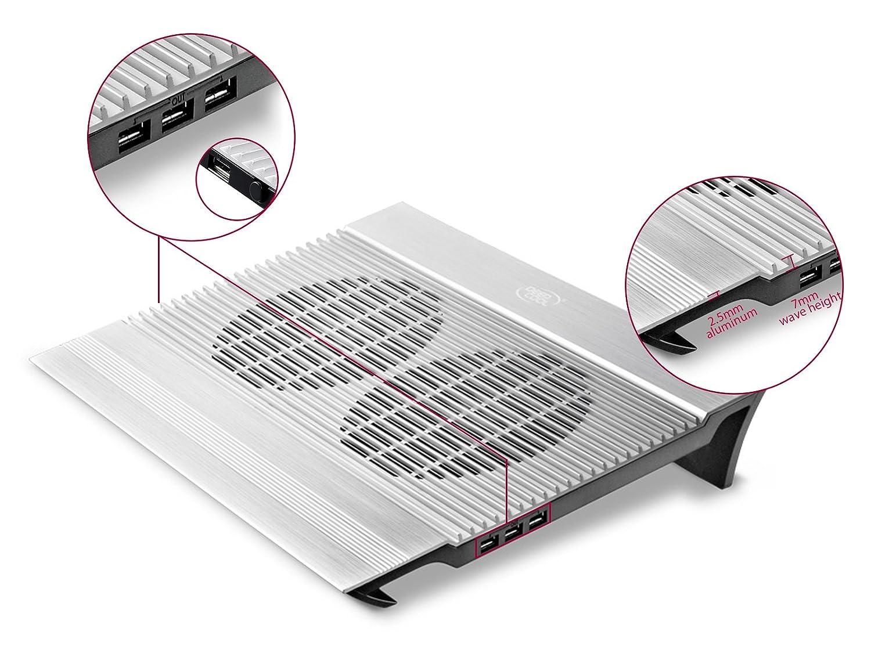 DEEPCOOL N8 Black Laptop Cooler 2.5mm Pure Aluminum Panel with Dual 140mm Fans