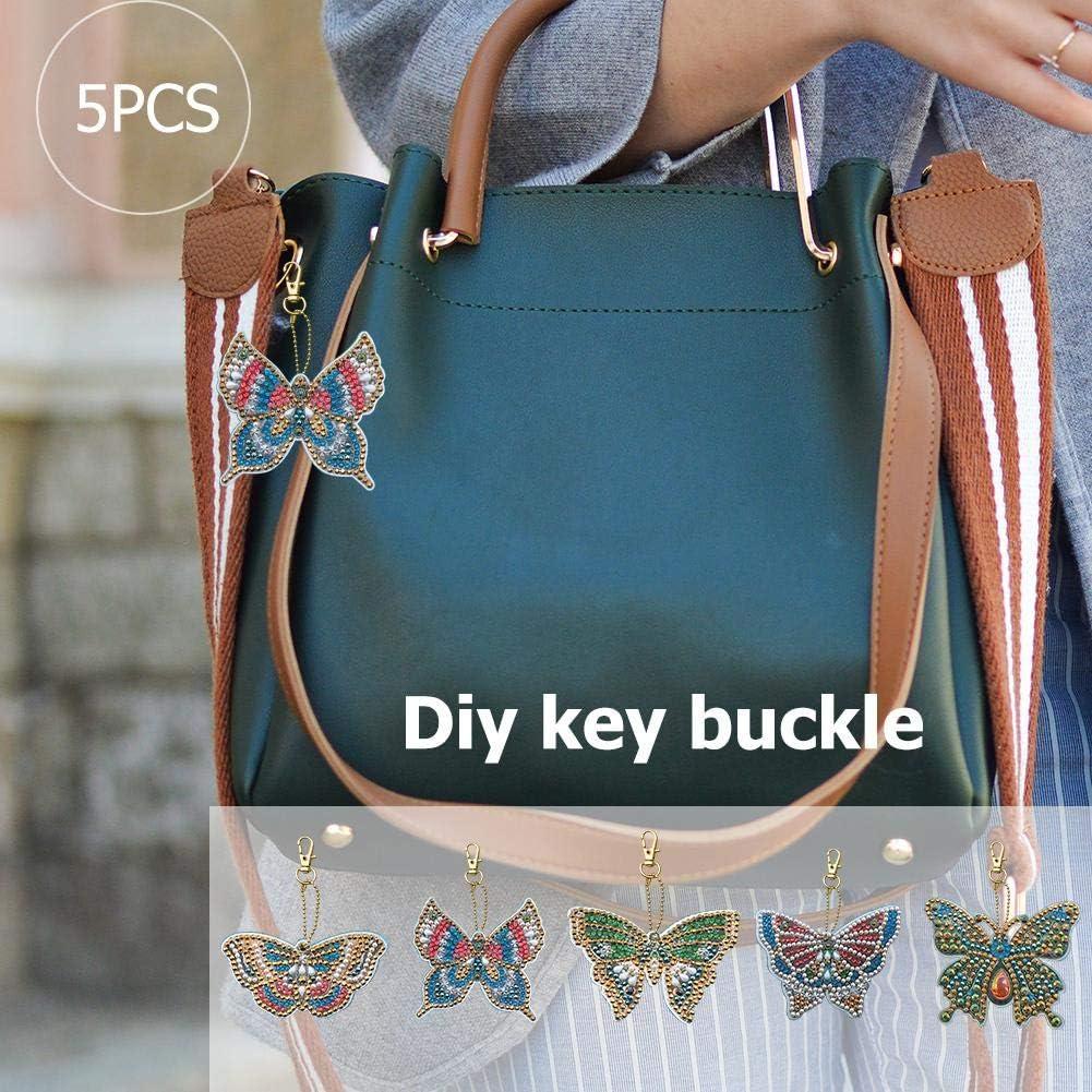 globeagle 5pcs//Set DIY Full Drill Diamond Painting Key Chain Cartoon Bird Bag Pendant