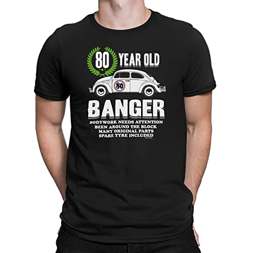 Mens 80th Birthday Small Black T Shirt Old Banger Gift