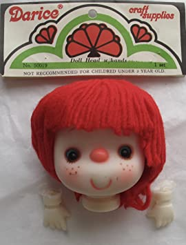 "Darice 4/"" Craft Doll Head Hands Rust Yarn Hair Freckles Loopy Curly"