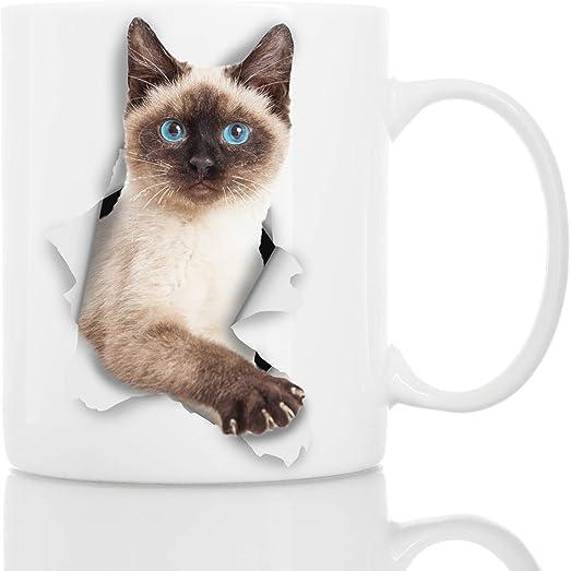 Winston & Bear Taza de Gato Siamés - Taza Gato Siames con Ojos Azules de Cerámica para Cafe Gato Siamés - Divertida y Bonita Taza de Café para Amantes de los Gatos:
