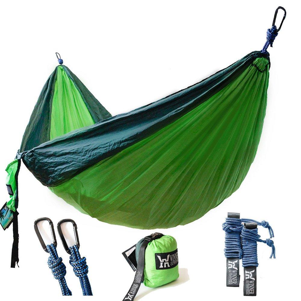 Winner Outfitters Double Camping Hammock - Lightweight Nylon Portable Hammock, Best Parachute Double Hammock For Backpacking, Camping, Travel, Beach, Yard. 118''(L) x 78''(W), Dark Green/Green Color
