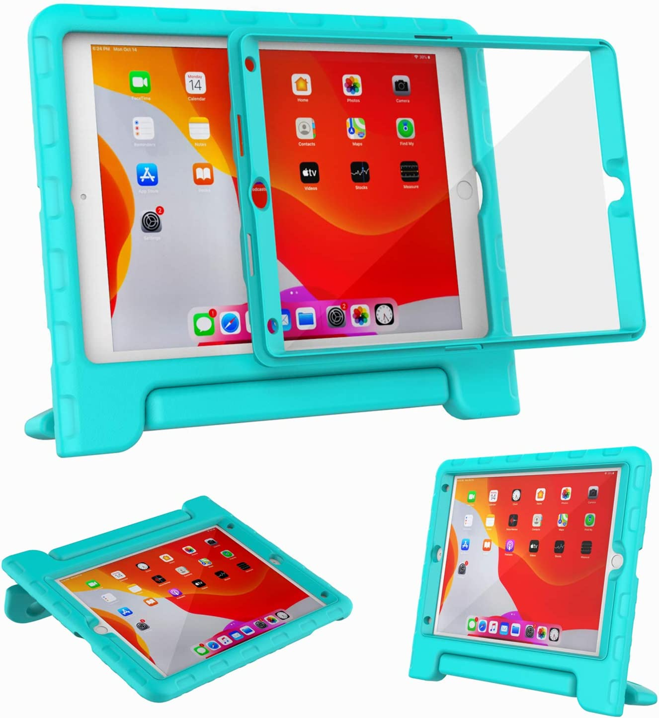"Kids Case for iPad 10.2"" 8th & 7th Generation 2020/2019 - with Built-in Screen Protector, Shockproof Lightweight Handle Stand Kids Case for iPad 10.2"" 2020 Latest Model Cover (Turquoise)"