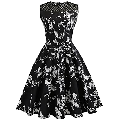 Pengy Womens Vintage Sleeveless Floral Printed Bodycon Evening Party Prom Dress Swing Dress (Black,