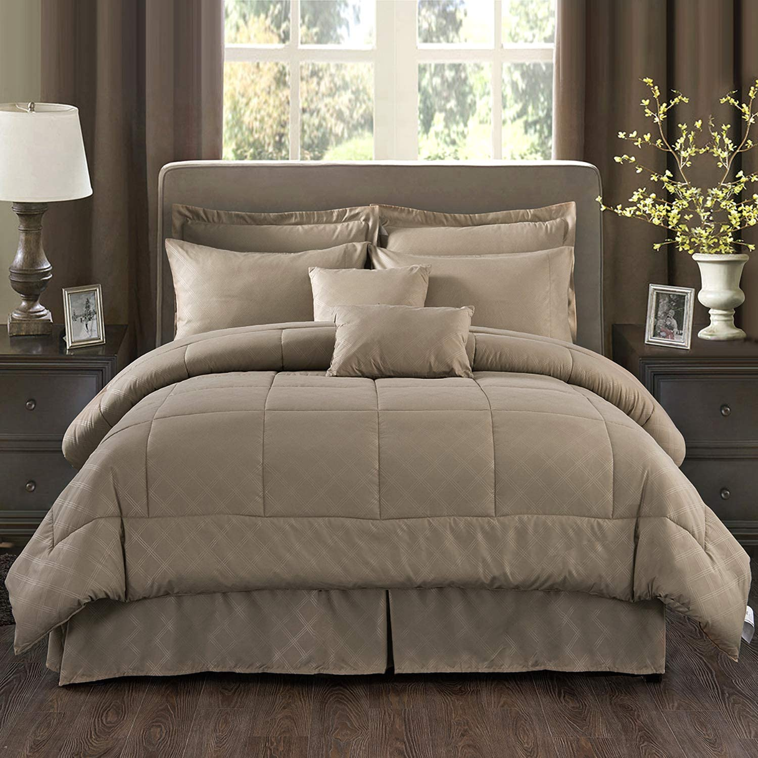 "MERRY HOME Comforter Set Queen, 10 Piece Comforter Bedding Set with Sheet Set Fit 14"" Deep Pocket - Plush Luxury Solid Color Quilted Pattern for All Season, Taupe"