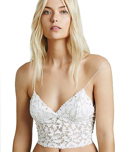 4478aa0248b55 BellisMira Women s Crop Top Camisole Floral Lace Vest Strap Tank Bra ...