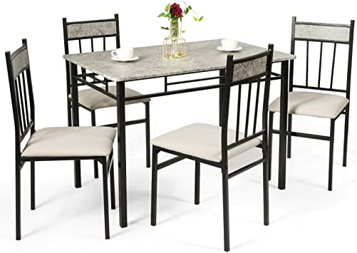 Amazon Com Tangkula 5 Piece Kitchen Dining Table Set Modern Table And Chairs Set Include One Rectangular Table And Four High Back Chairs Metal Frame Padded Seat Faux Marble Table Top Grey