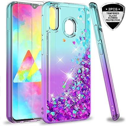 LeYi Compatible con Funda Samsung Galaxy M20 M 20 Silicona Purpurina Carcasa con [2-Unidades Cristal Vidrio Templado],Transparente Cristal Bumper TPU Gel Case Cover para Movil Samsung M20 Púrpura: Amazon.es: Electrónica