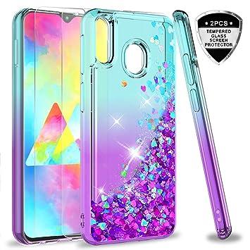 LeYi Compatible con Funda Samsung Galaxy M20 M 20 Silicona Purpurina Carcasa con [2-Unidades Cristal Vidrio Templado],Transparente Cristal Bumper TPU ...