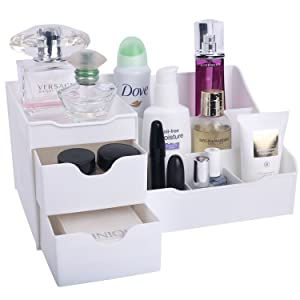 Mantello Makeup Organizer Vanity Organizer with Drawers, White