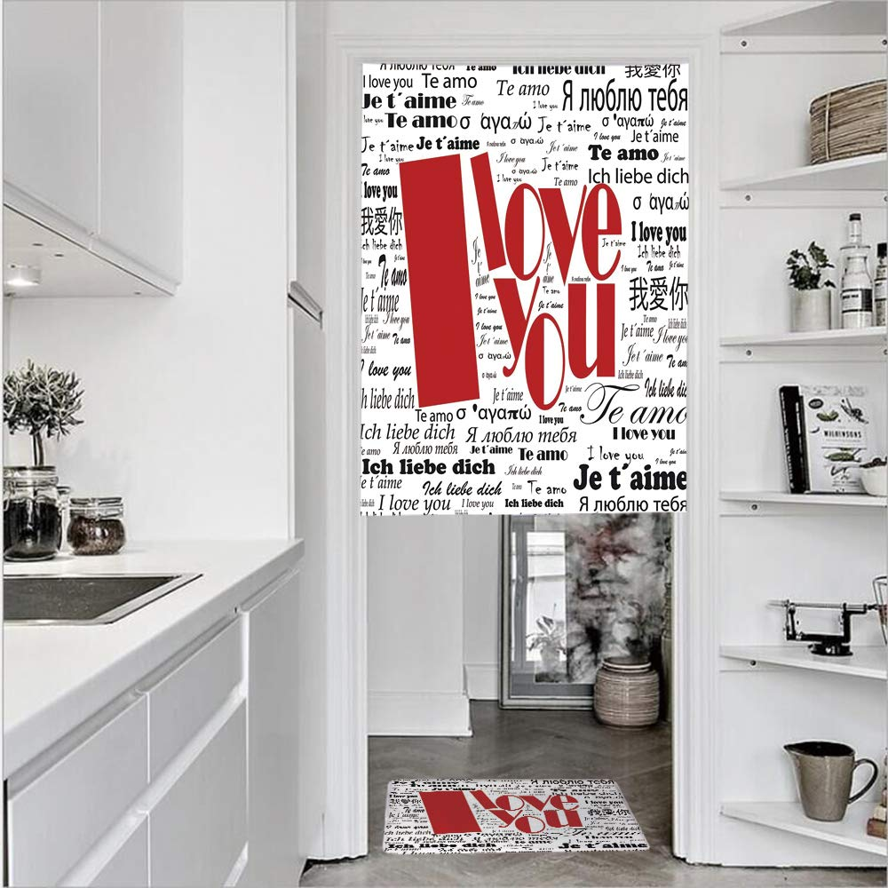 "3D Printed Linen Textured French 1 Panel Door Curtains and 1pcs Doormat Kitchen Mat Rug,International Love Words Contemporary Happy MotherSingle Panel door curtain 31.5""w by 43.3""h + 1 PCS Doormat 19."