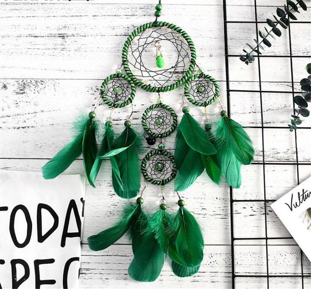 MIRUIKE fatto a mano tradizionale acchiappasogni con piume pizzo Home Wall Hanging decorazioni ornamenti, verde