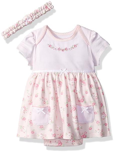 1ef78fc24e90 Amazon.com  Little Me Baby Girls  Knit Bodysuit Dress with Headband ...