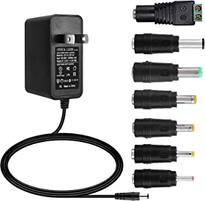 ALSISK 12V 1A 12W Power Supply Adapter,Power Plug for Home Appliances,CCTV Camera,WiFi Routers,Hubs,LED Strips,Telekom,T-Com,Speedport,Radiowecker,Scanner,Switch,ESCAM QD300+7 Different Plugs