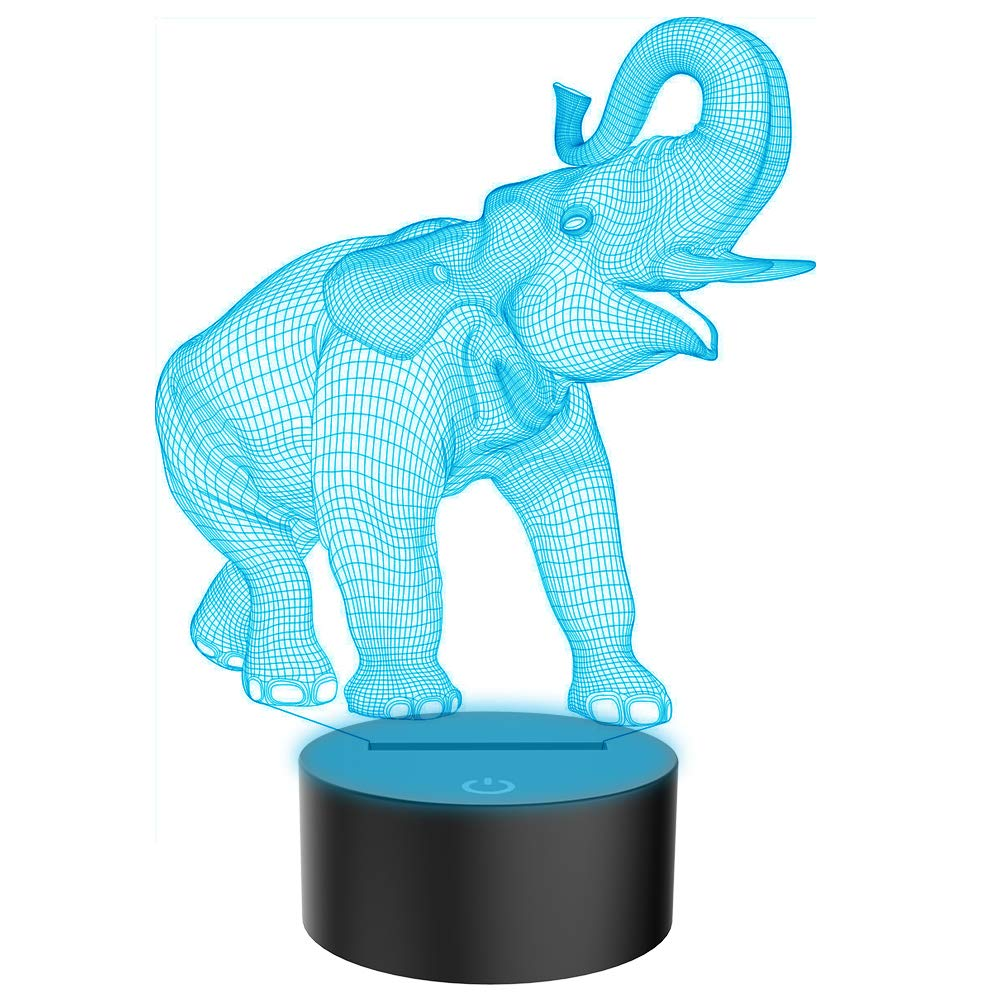 Animals Elephant 3D Illusion Lamp Led Night Light with 7 Colors Flashing & Touch Switch USB Powered Bedroom Desk Lamp for Kids Gifts Home Decoration