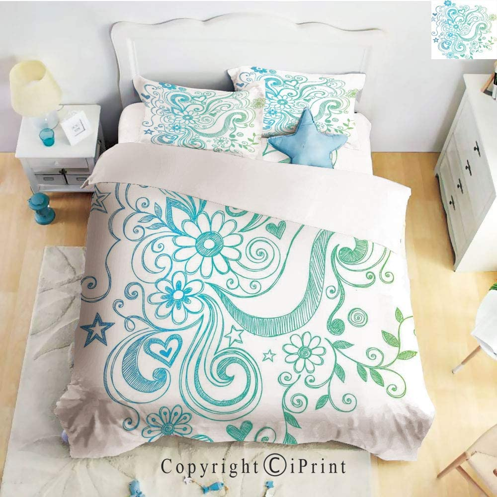 Homenon Luxury 4-Piece Bed Sheet,Hide Zipper Closure,Rainbow Colored Ombre Sketch Design with Florals Blossom Ivy Leaves,Blue White Turquoise Green,King Size