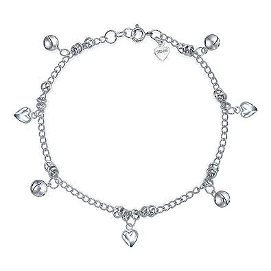 Bling Jewelry Sterling Silver Jingle Bells Bead Charm Anklet Bracelet 9in 63riAI4