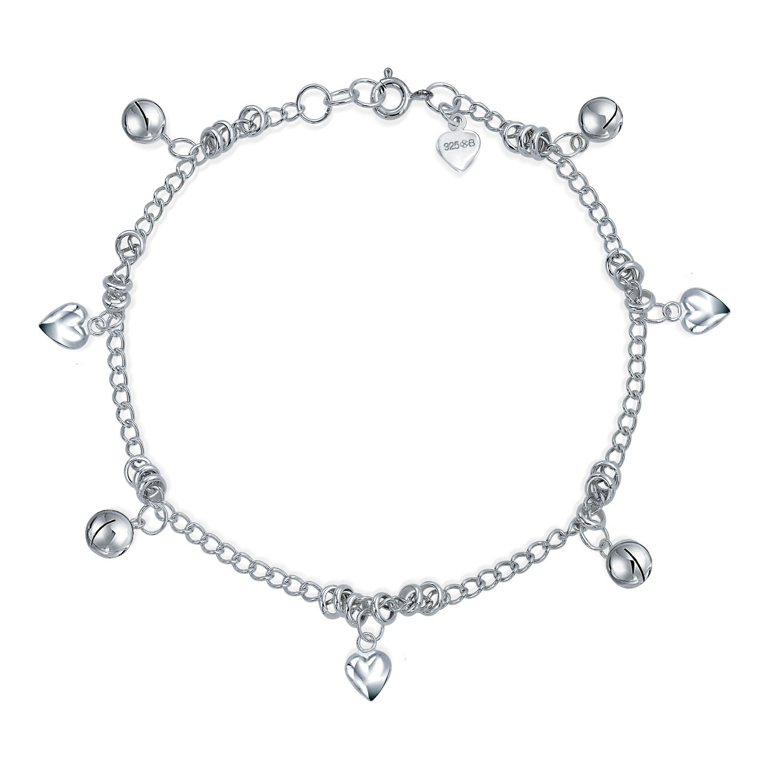 Multi Jingle Bells And Hearts Dangle Charms Anklet Pattilu India Ankle Bracelet For Women 925 Sterling Silver 9.5 Inch