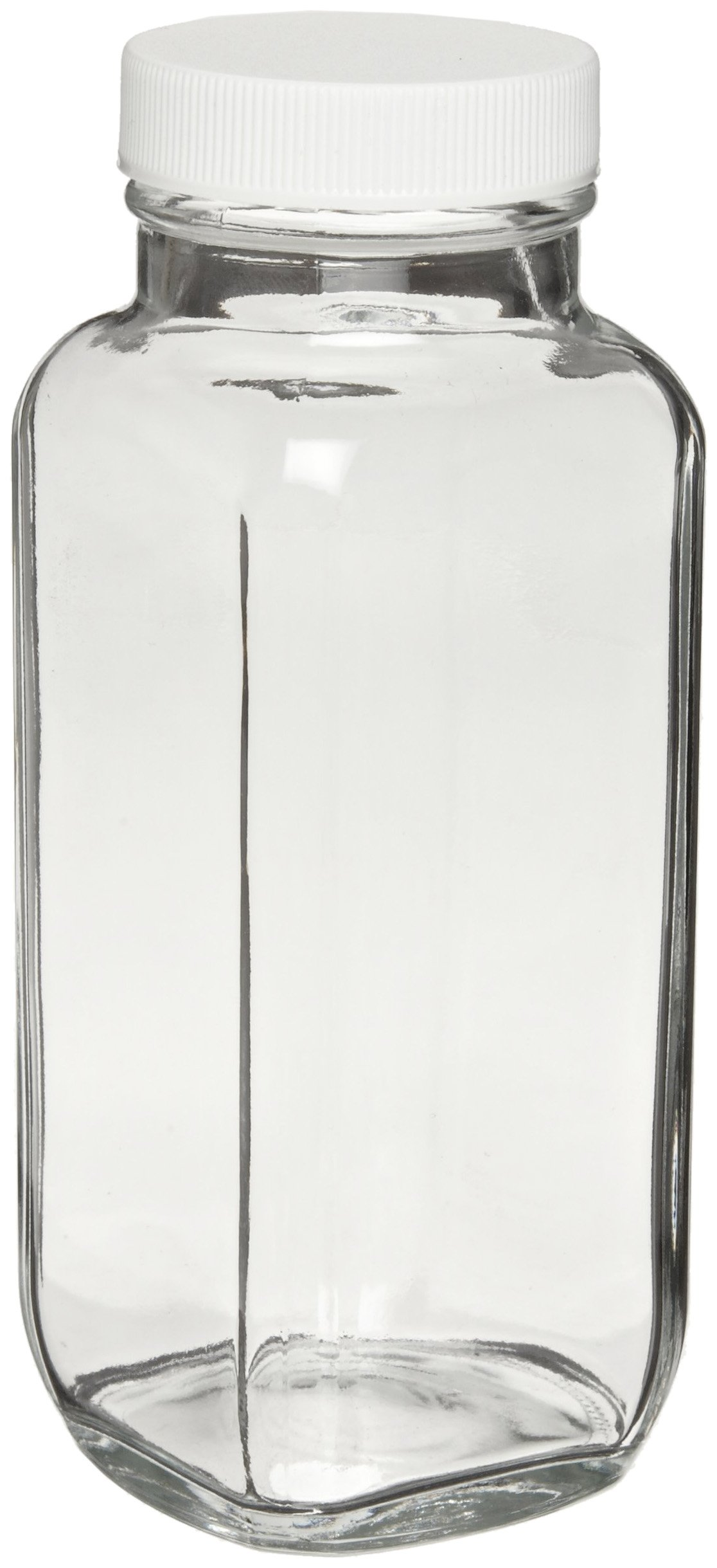 Wheaton W216896 French Square Bottle, Clear Glass, Capacity 8oz With 43-400 White Polypropylene Poly-Vinyl Lined Screw Cap, Diameter 56mm x 137mm (Case Of 84)