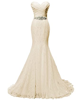 Amazon.com: SOLOVEDRESS Women\'s Beaded Pleat Lace Wedding Dress ...