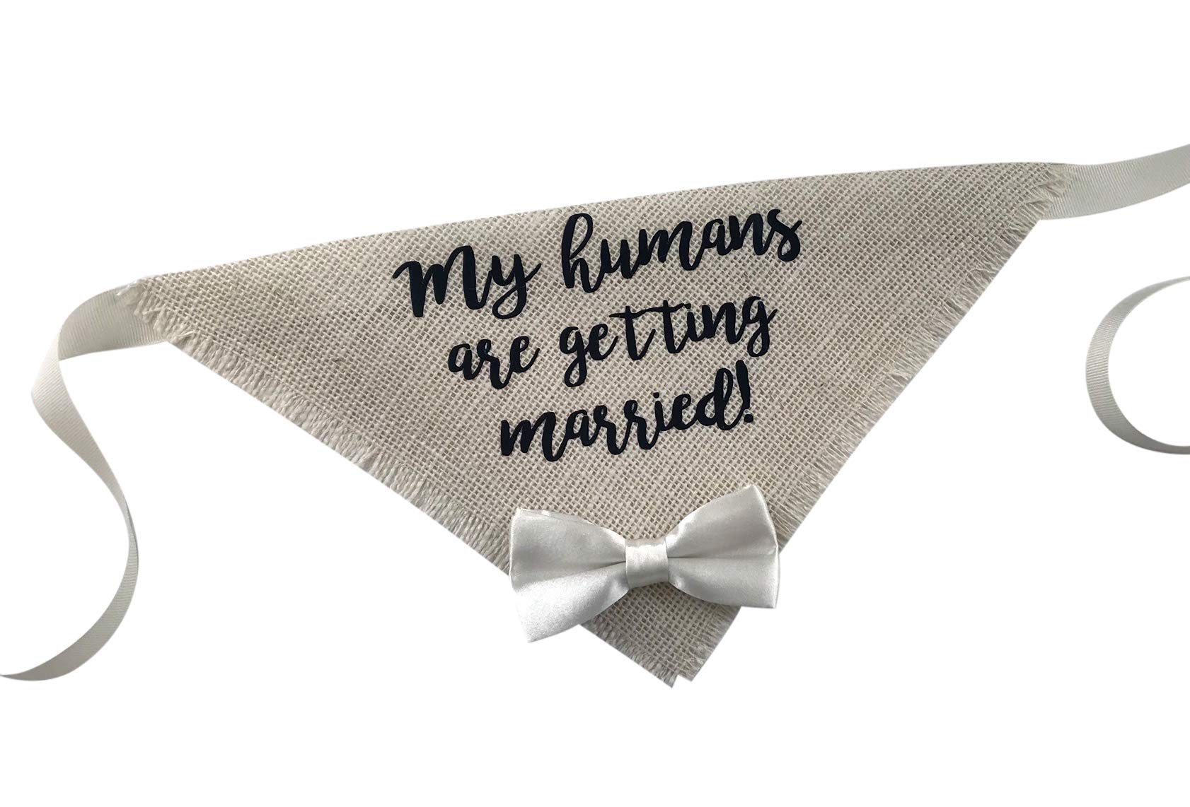 Hello Hazel Company My Humans are Getting Married Wedding Dog Bandana with Satin Bow Tie (X-Large)
