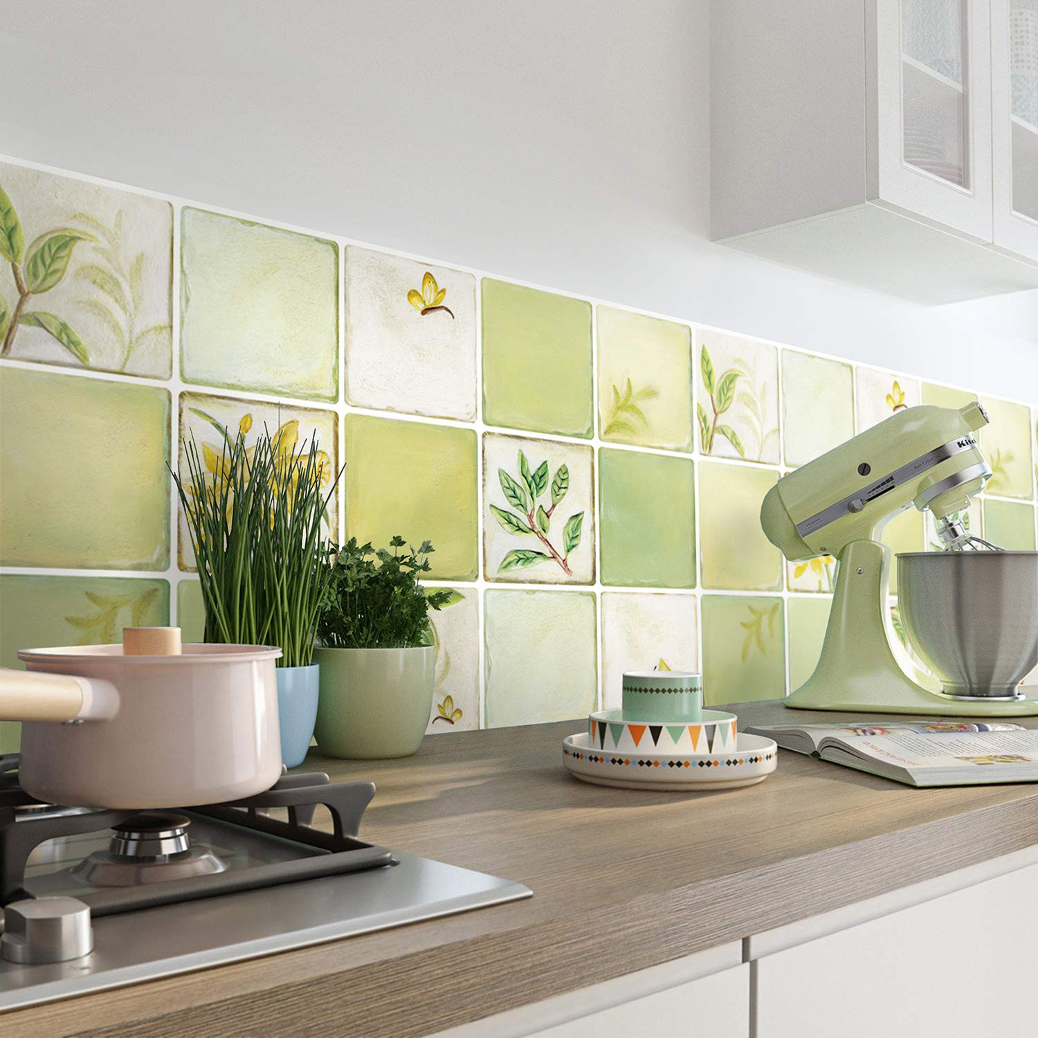 Simply Works Imports Peel and Stick Tile Backsplash   Kitchen or Bathroom Decorative Wall Covering  Removable Easy to Install   2 Pack Lilies Design