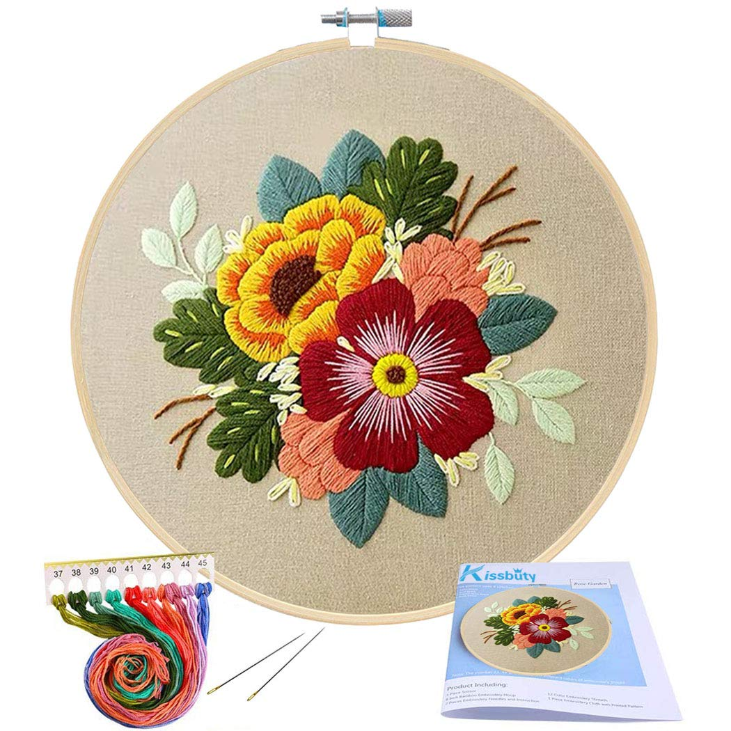 Accurate Embroidery Starter Kit Complete Cross Stitch Hoop Threads Needles Kits