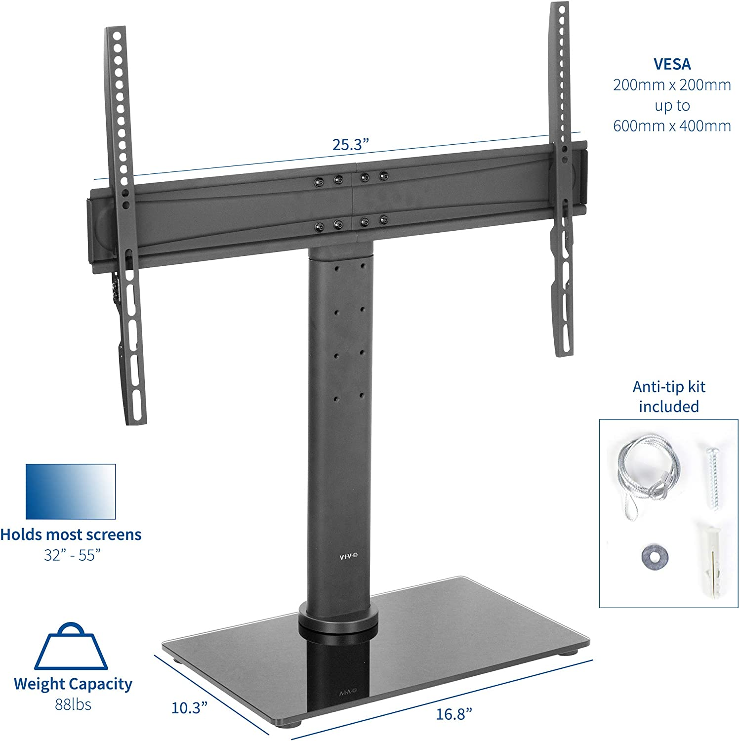 WEVIVU Corner Floor TV Stand with Mount for 32-55 inch LCD//Plasma//Panel//Curved TV Adjustable Height and Angle 2-Tier Multi-Function Tempered Glass Metal Frame TV Stand