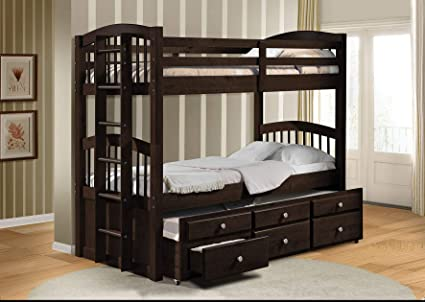 Pleasing Amazon Com Homeroots Twin Twin Bunk Bed Trundle With 3 Pdpeps Interior Chair Design Pdpepsorg