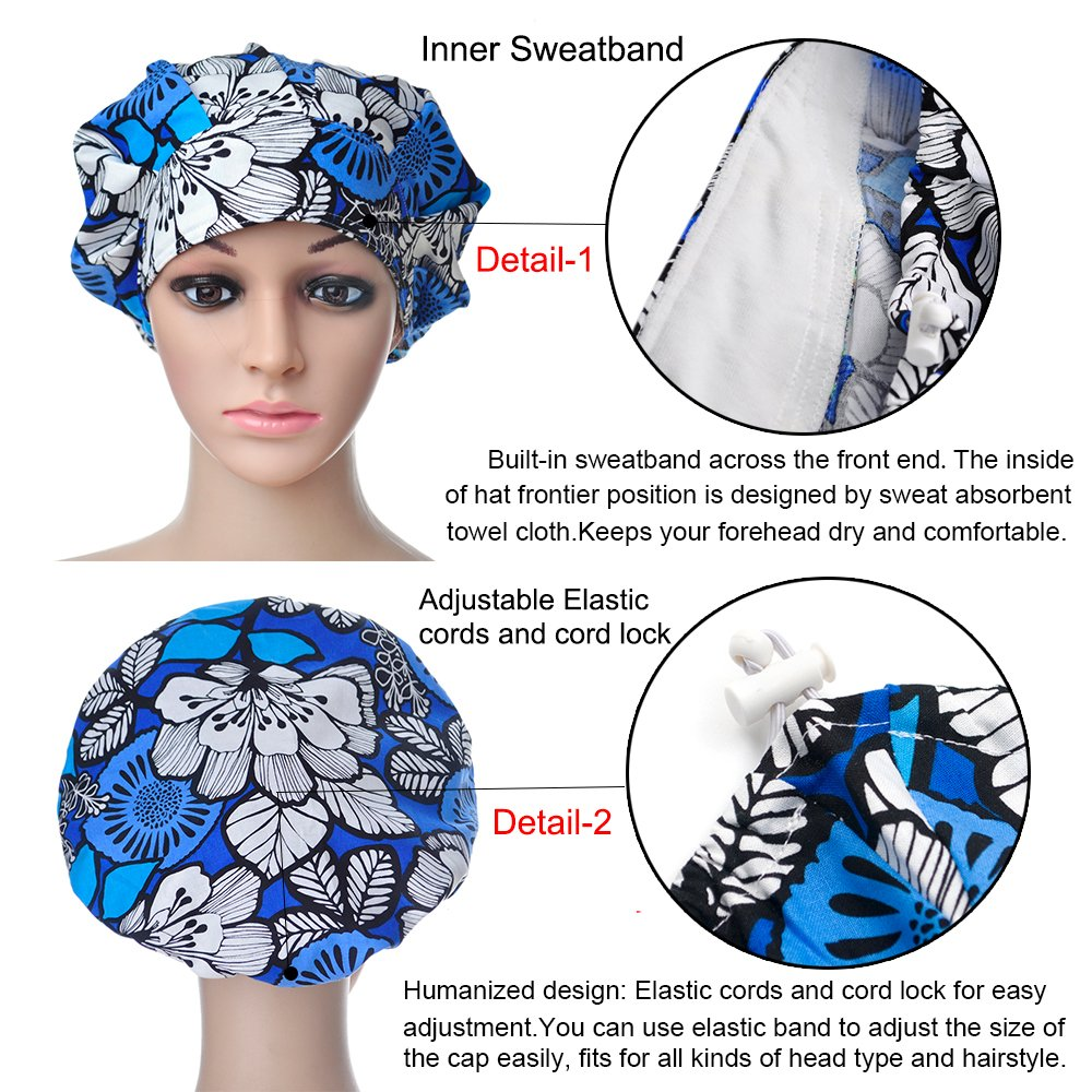 Opromo Cotton Bleach Friendly Banded Adjustable Scrub Cap Sweatband Bouffant Hat-Assorted 7 by Opromo (Image #4)