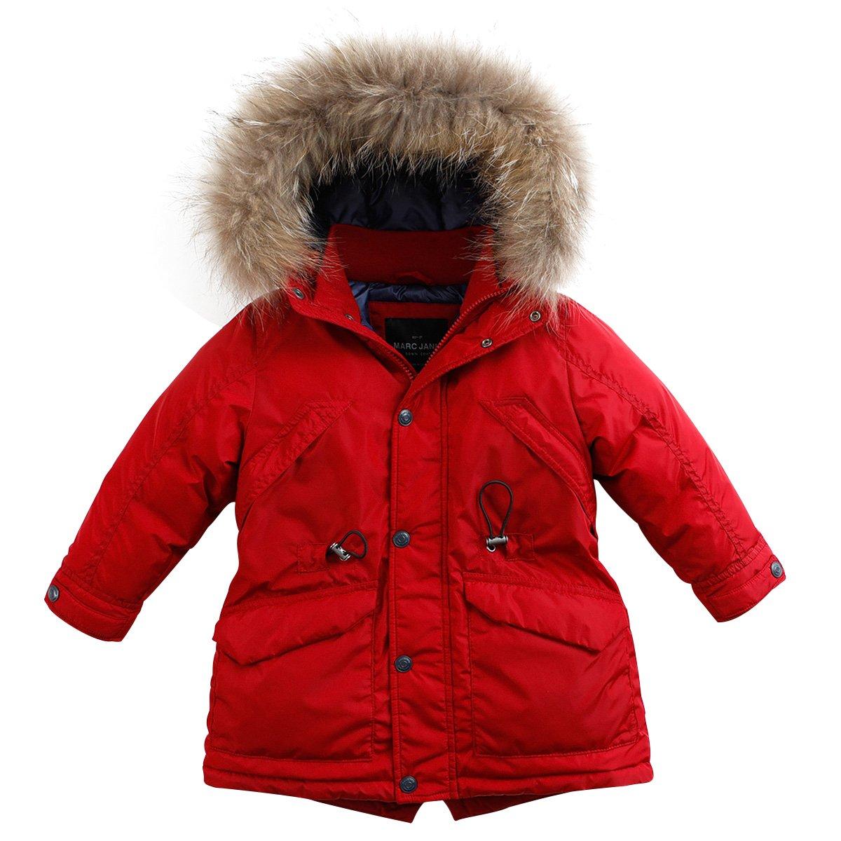 marc janie Baby Boys Kids' Lightweight Down Jacket With Raccoon Fur Collar Hood Puffer Winter Coat Deep Red 6T