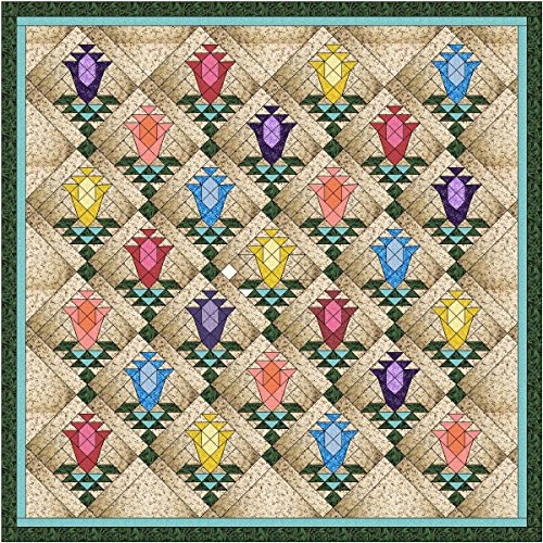 Quilt Kit Lily Blossom Trellis/Pre Cut Ready To Sew/Queen by Material Maven