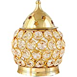 Mini JIni Crystal Akhand Diya | Decorative Brass Oil lamp Tea Light Holder Oval Shape Lantern for Pooja and Collectible in India (Small)
