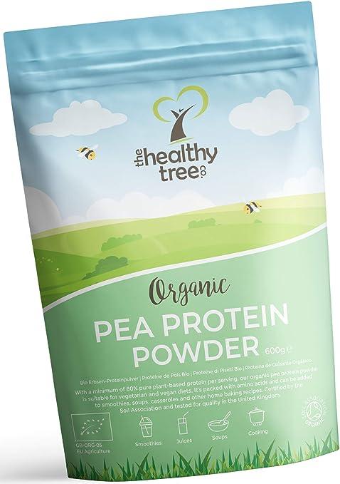 Proteína de Guisante Orgánico en Polvo de TheHealthyTree Company - 80% Europeo + Proteína Vegana, Alta en Aminoácidos, Hierro, Zinc y BCAA (600 g)