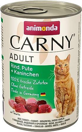 animonda Carny Adult Katzenfutter, Nassfutter für ausgewachsene Katzen, Rind, Pute + Kaninchen, 6 x 400 g: Amazon.de: Haustier