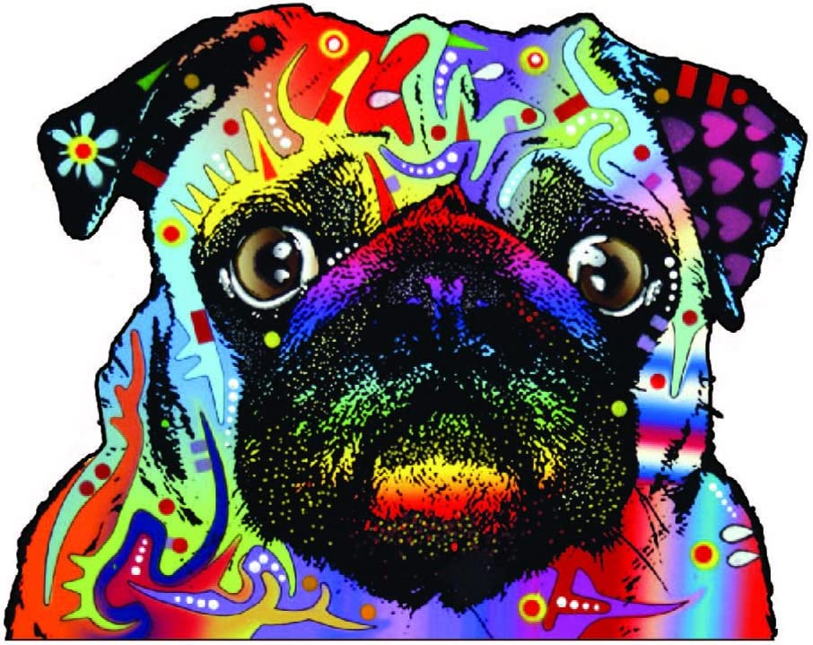 Enjoy It Dean Russo Pug Car Sticker, Outdoor Rated Vinyl Sticker Decal for Windows, Bumpers, Laptops or Crafts