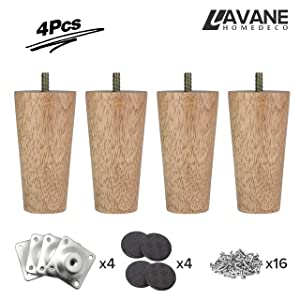 4 inch / 10cm Wooden Furniture Legs, La Vane Set of 4 Solid Wood Tapered M8 Replacement Furniture Feet with Pre-Drilled 5/16 Inch Bolt & Mounting Plate & Screws for Couch Sofa Cabinet Ottoman