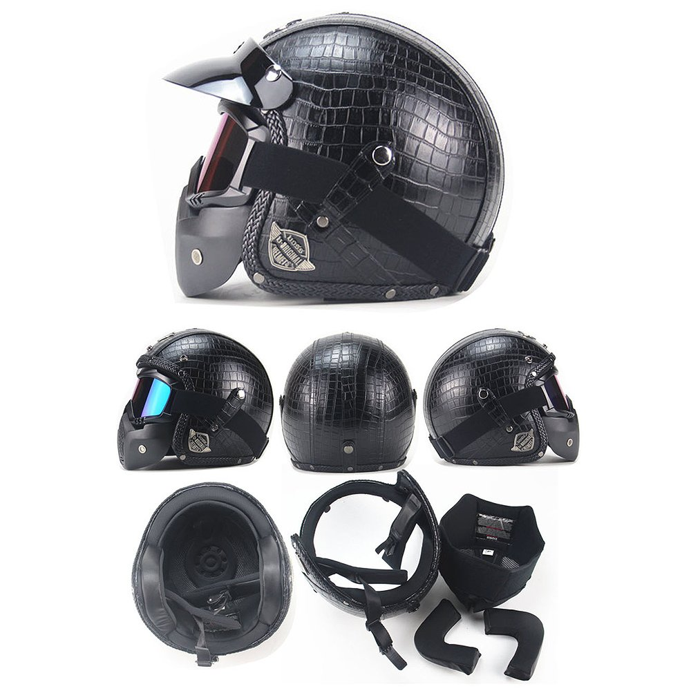 Amazon.com: PU Leather Harley Helmets 3/4 Motorcycle Chopper Bike Helmet Open Face Vintage Motorcycle Helmet with Goggle Mask Black M(57-58cm): Automotive