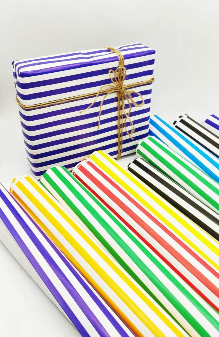Satyam kraft (Pack of 10) 28 * 19 inches Gift Wrapping Paper with Free 10 Tags Envelope Making,Card Making, Christmas, Family and Your Loved Ones Chrismas (Stripe Paper) product image