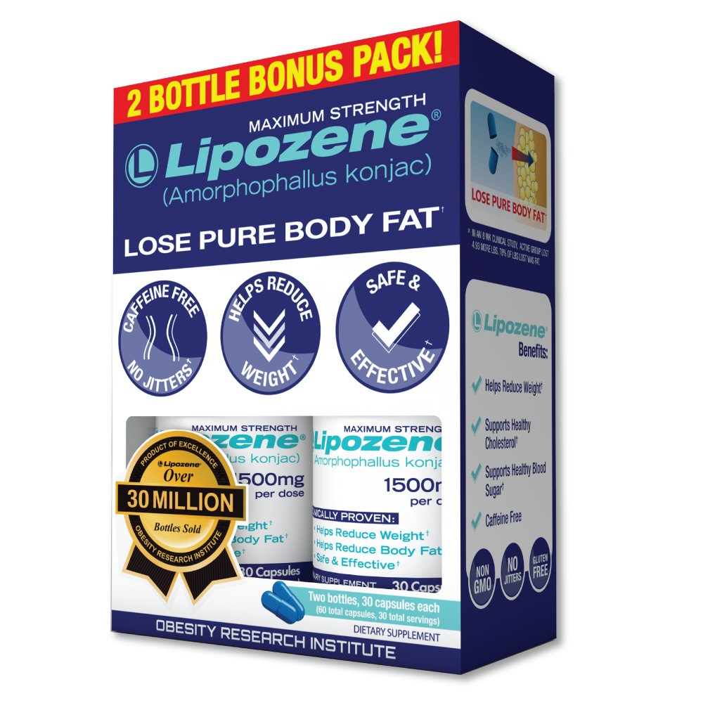 Lipozene - Weight Loss Supplement Diet Pills - Appetite Suppressant and Control - Two Bottles 60 Capsules Total by Lipozene