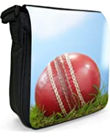 Close Up Of Cricket Ball Sat On Grass Small Black Canvas Shoulder Bag / Handbag