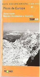 Picos de Europa, Mapa de Zona Norte, Macizo Occidental o Cornion (Top 25