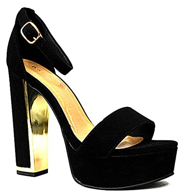 cb18547efbe SF Bamboo Women s High Chunky Heeled Platform Ankle Strap Sandals (6.5
