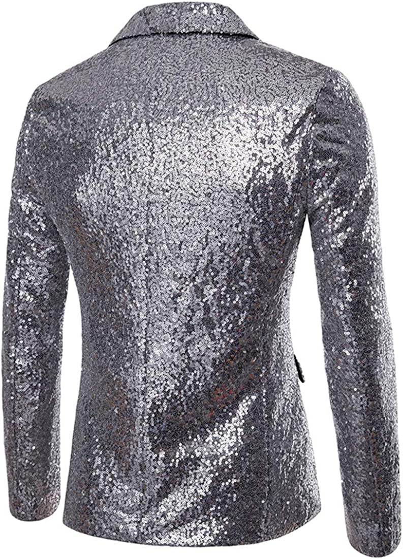 turuste Fashion Mens Slim Fit Formal Party Dress Dinner Tuxedo Sequin Suit Jacket