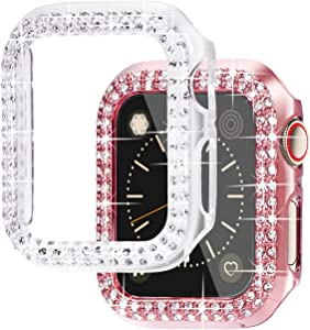 NewWays 2-Pack Bling Cases Compatible for Apple Watch 38mm 40mm 42mm 44mm, Protective Bumper for iWatch SE Series 6 5 4 3 2 1 (40mm, Pink/Clear)